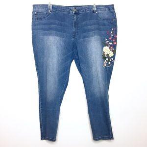 Jennifer Lopez Embroidered Ankle Skinny Jeans 24
